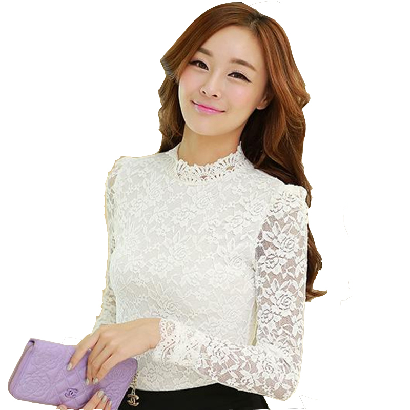 White long sleeve lace tops stand collar plus size feminine lace tops slim fit ladies shirts black fashion women's lace blouses
