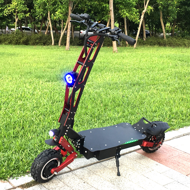 Factory new style long range big powerful electric scooter adult with 5600w 60v fast speed electric scooter electric, Black+red