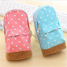Cute Korea stationery big capacity pencil case Dot pattern wallet font b school b font supplies