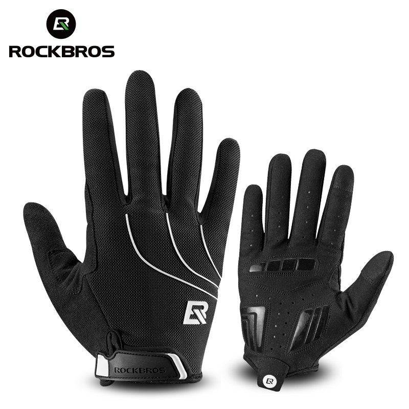 RockBros Cycling Fleece Thermal Windproof Outdoor Full Finger Gloves Black