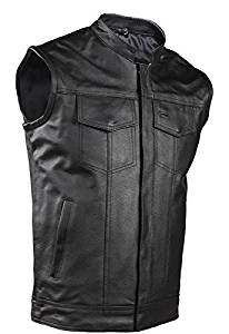 Big Mens Leather Motorcycle Vest With Front Pockets and Gun Pocket (Size 5XL, 64)