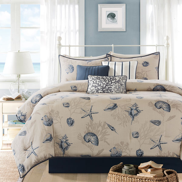 bedding with romance comforter c cover ease sets sea duvet comforters coverlet seashell block beach fabric quilt blue sham shell shells f quilts quilting style natural tropical set