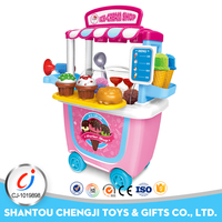 Hot pretend sell ice cream educational plastic cart toy for kids