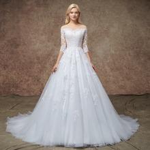9a64aa292f39 Add to Favorites. FA127 Vesido De Novia Wedding Dresses 2019 Three Quarter  Sleeves Tulle Appliqued Vintage Court Train Mariage Bridal Dress