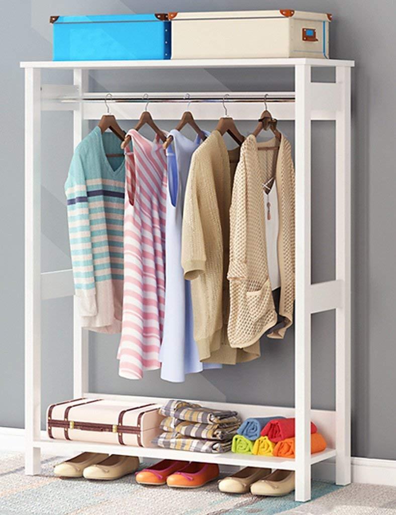 YXX- Home-Like Single Rod Closet Freestanding Wood Wardrobe Living Room Bedroom Portable Coat Rack Storage Garment Scarf Package Hat Shoe Floor Hangers (Color : White wood grain, Size : 80100cm)