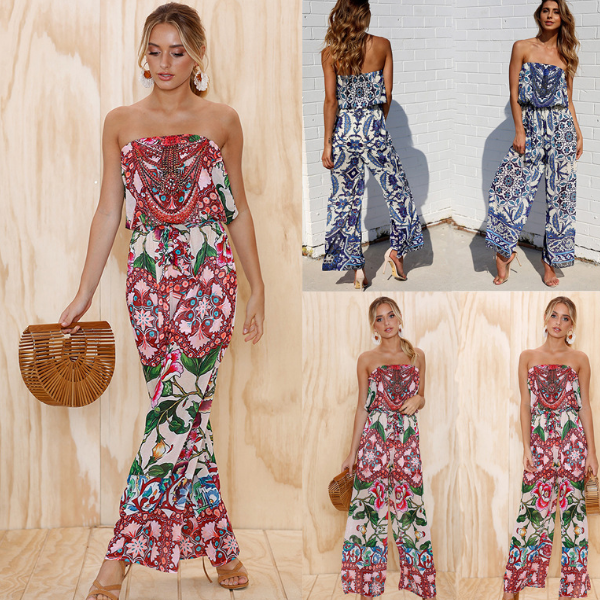 KS30454C 2018 Hot sale Fashion Strapless Floral Print Loose Long Jumpsuits