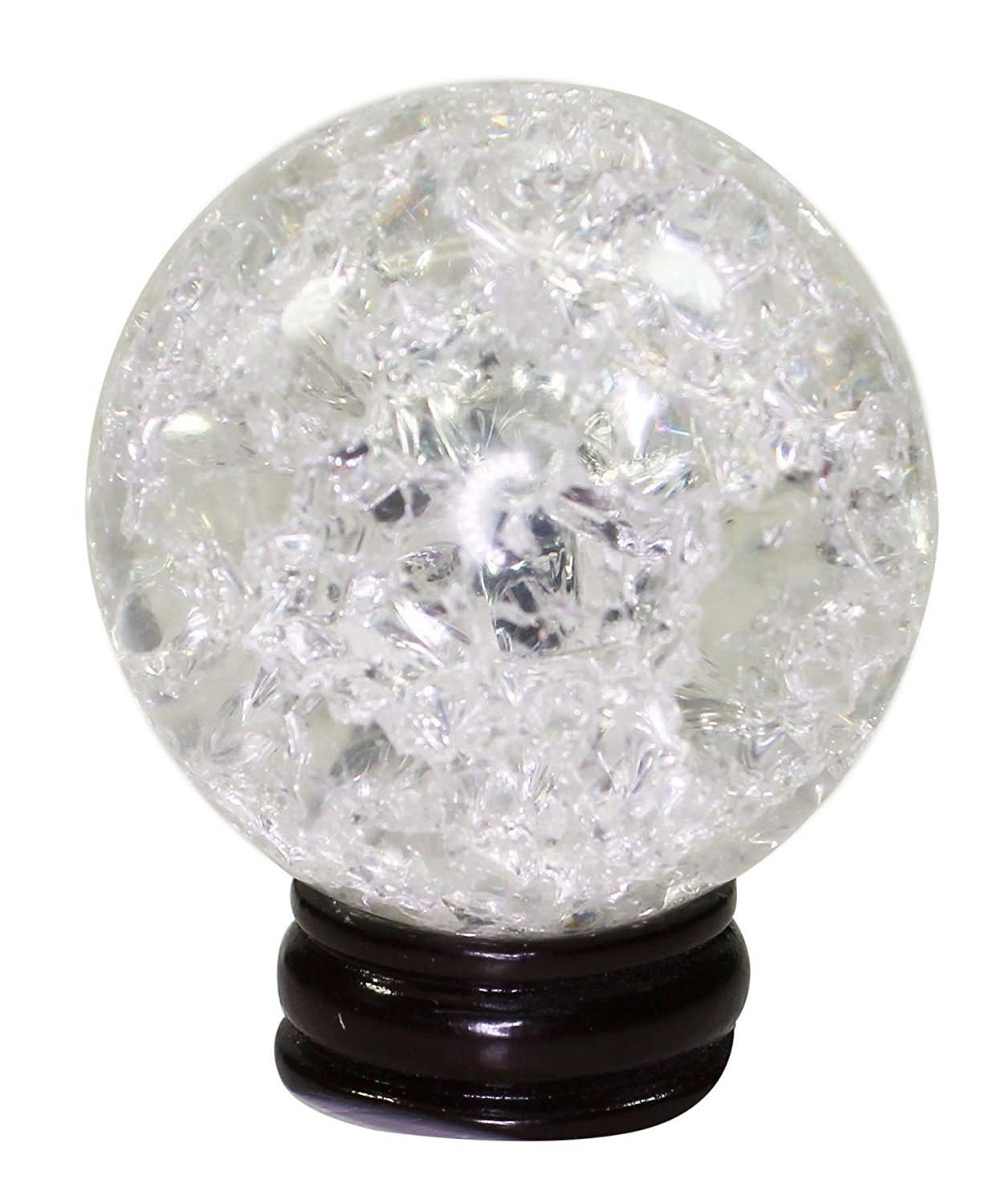 Crackle Glass Crystal Ball Sphere 45mm + 2 Display Stands, 1 Wooden 1 Acrylic Gazing Scrying