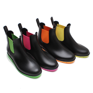 Factory directly new design color customized ankle PVC women elastic material rain boots
