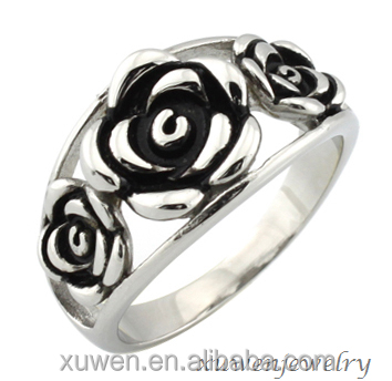 ladies three enamel rose stailess steel size 3.5 rings