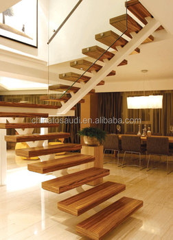 Floating glass stairs staircase with wooden treadboards for Escaleras metalicas para interiores casas