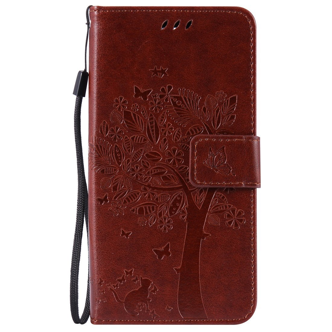 LG K8 Case, LG Escape 3 Case, LG Phoenix 2 Case, Love Sound [Cat Tree Butterfly/Coffee] [Wrist Strap] PU Leather Wallet Case Flip Cover Built-in Card Slots Stand for LG Escape 3 / LG Phoenix 2 / LG K8