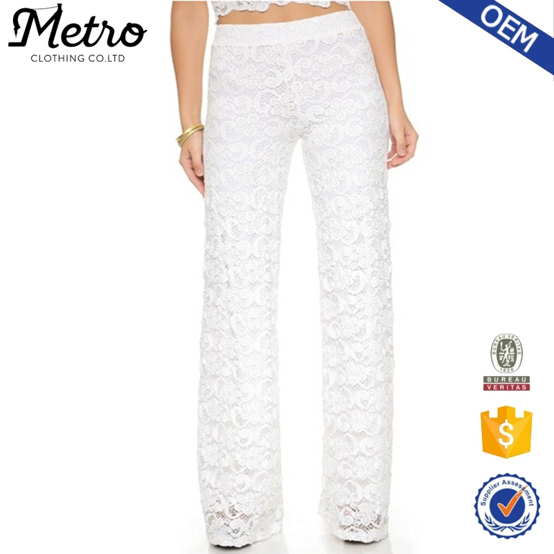 Women Pants White Floral Lace Wide Leg Trousers