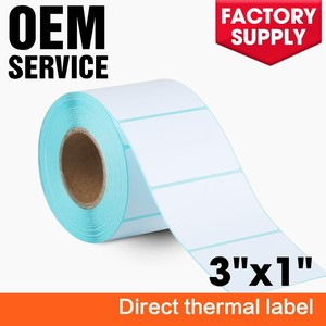 "3""x 1"" Adhesive Paper Blank Thermal Sticker Compatible label for Toshiba, Citizen, Eltron, Orion, UPS Label Printers"