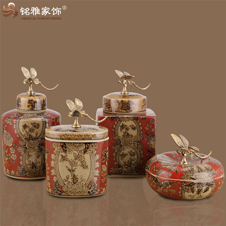 China qing dynasty style home garden decoration restaurant table red color wedding favour traditional chinese ceramic vase