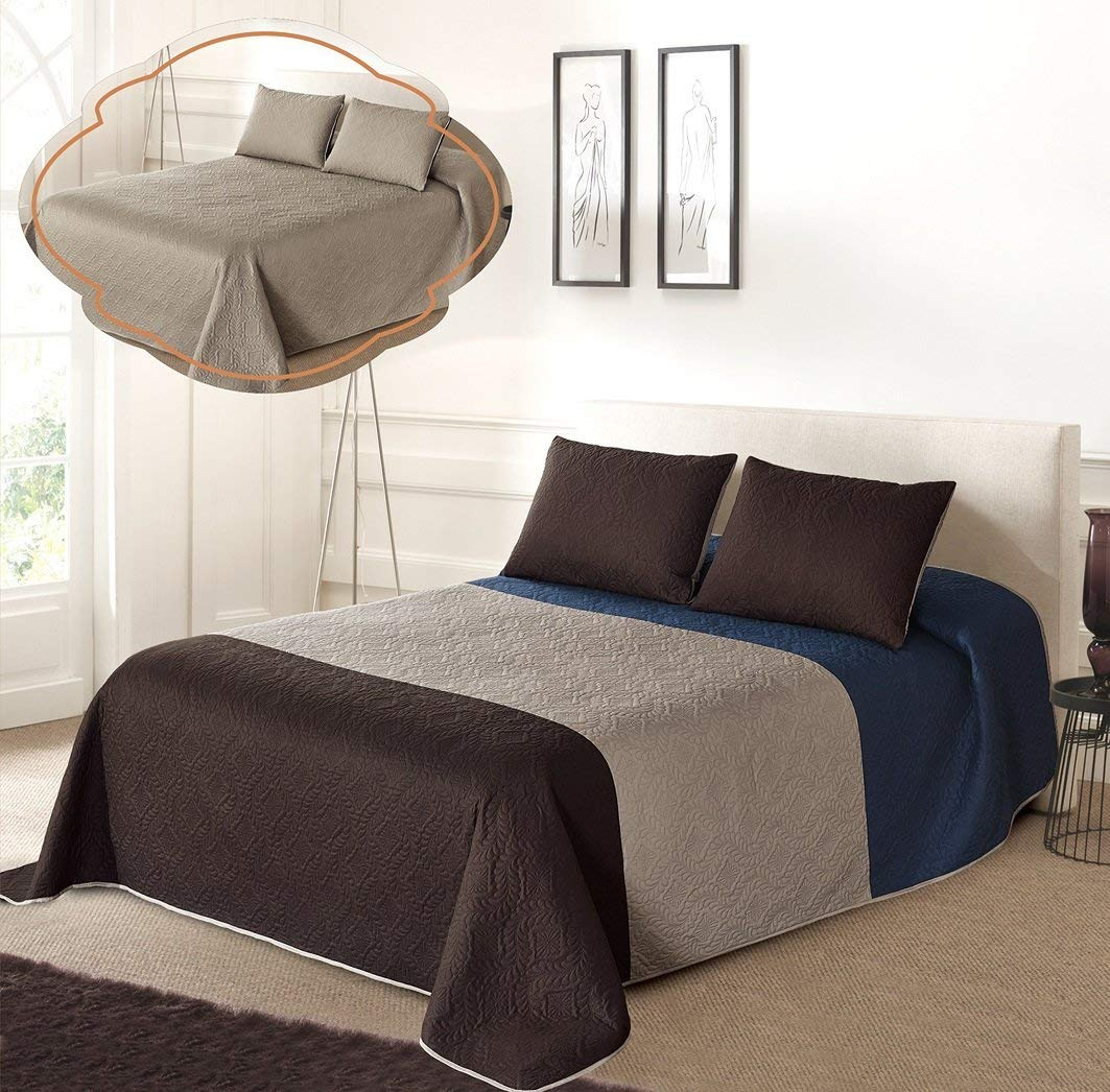 All American Collection Tri-Color Reversible Twin/Twin XL Oversized Bedspread Pillow Sham Set | Mix Match New Looks!