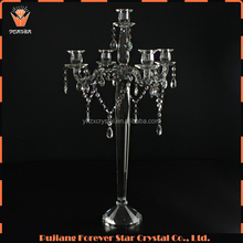 cheap wedding table centerpieces candle holder 5 arms clear crystal candelabra with hanging crystals YH-4047