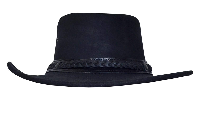 Get Quotations · Unisex Men s Women Cowboy BLACK Aussie Style Western Bush Real  Leather Hat 6d77607465d0