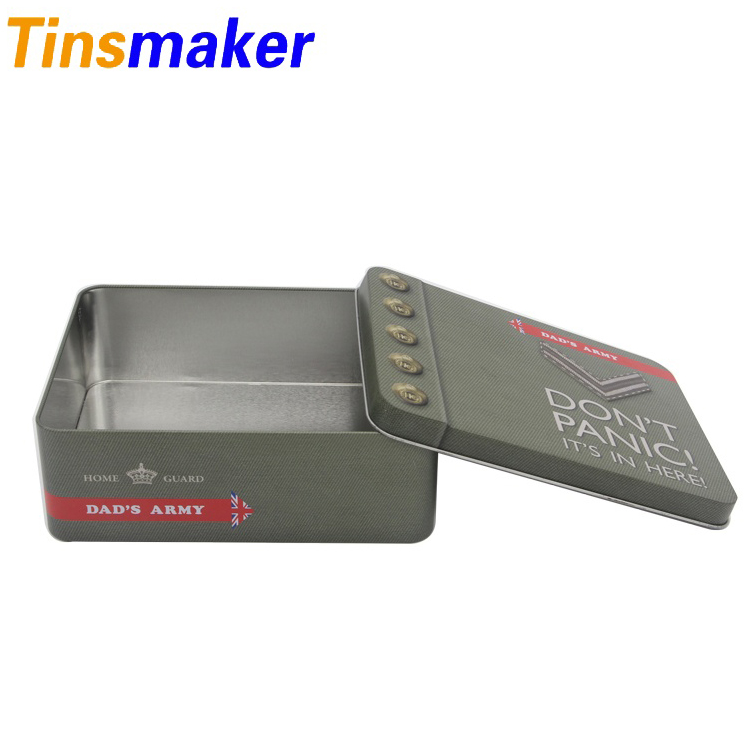 Rectangular armygreen tin box packaging with company logo