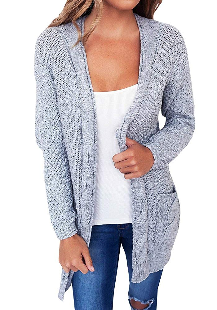 e26f1c25d0eb7 Get Quotations · Imily Bela Women s Lightweight Open Front Classic Long  Office Twist Pockets Cardigan