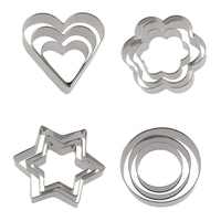 FDA Approved 3PCS Stainless Steel Cake Cutter Set For Cookie Party