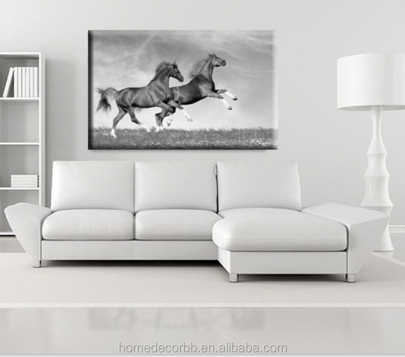 Mordern Black and white runing horses canvas painting wall art for living room home decorative giclee printing