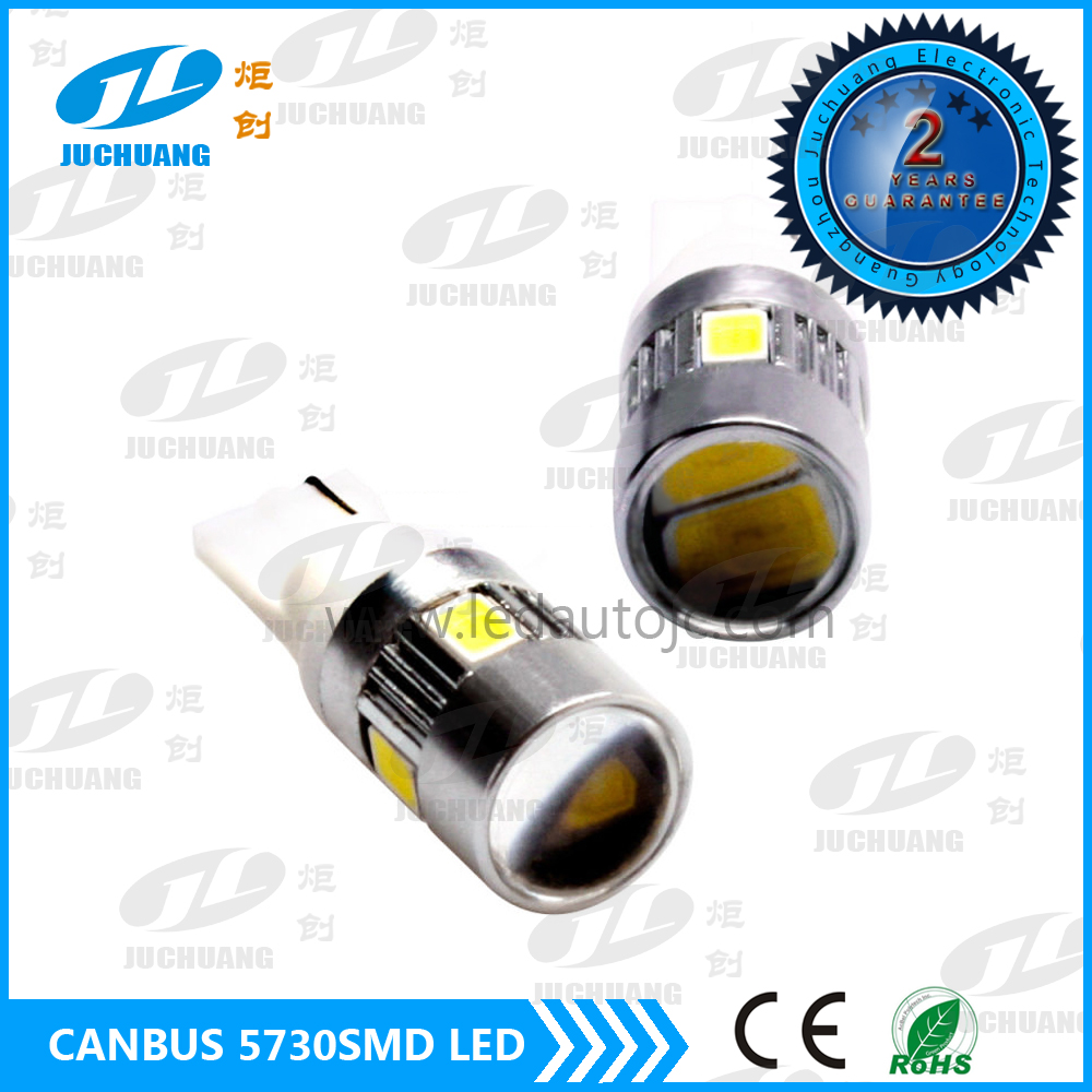 Hottest T10 bulbs 194 501 T10 W5W 5730smd 6led white interior led bulbs 5730 led projector light