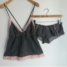Frete grátis M368 Sexy recorte de renda feminina sleepwear alcinhas finas camisola pijama pijama conjunto de pijama