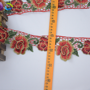 wholesale fabric rose trim embroidery applique trim Floral lace trim with pleated