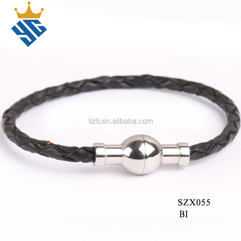 Thin Black Braided Leather Bracelets With Magnetic Closure Bracelet