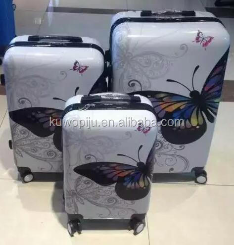 butterfly printing 3 Piece Vision Polycarbonate/Abs Luggage Set LOVE abs trolley case