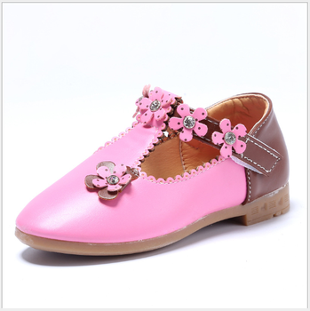 2017 new korean design flower shoes girl kids leather shoes