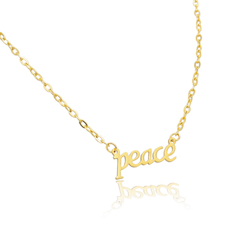 Gold Plated Jewelry Custom Name Personalised Letter Charm Peace Necklace 4685dd0f7