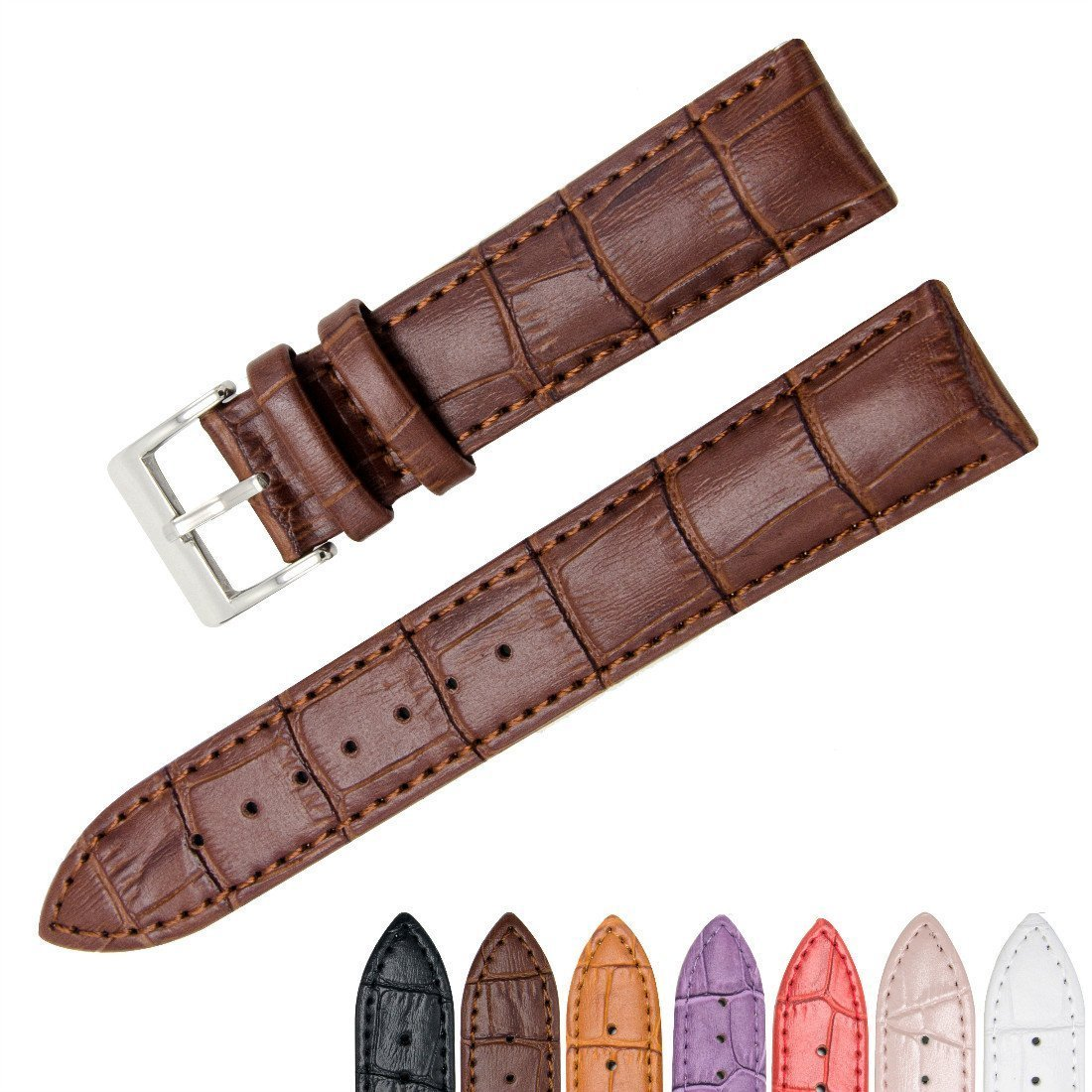 CeLover Watch Band Watch Replacement Watch Strap Genuine Leather 18mm Watchbands Metal Stainless Steel Adapter Quick Release Watchband with Pins Clasp, Width(18mm 20mm 22mm) Black
