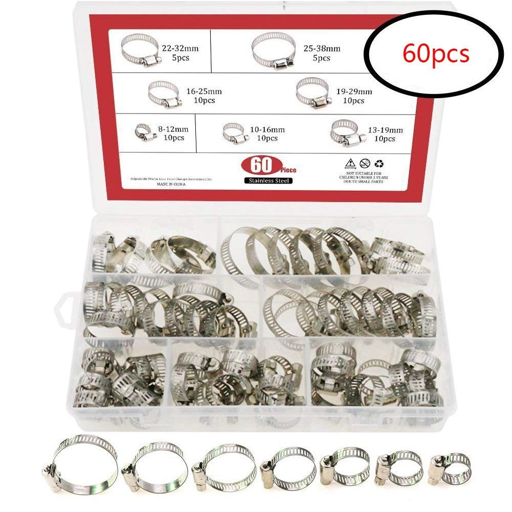 60PCS Worm Gear Hoop Hose Clamp Assortment Kit Stainless Steel 8-38mm Range For Securing Hoses Around Pipes (Silver)