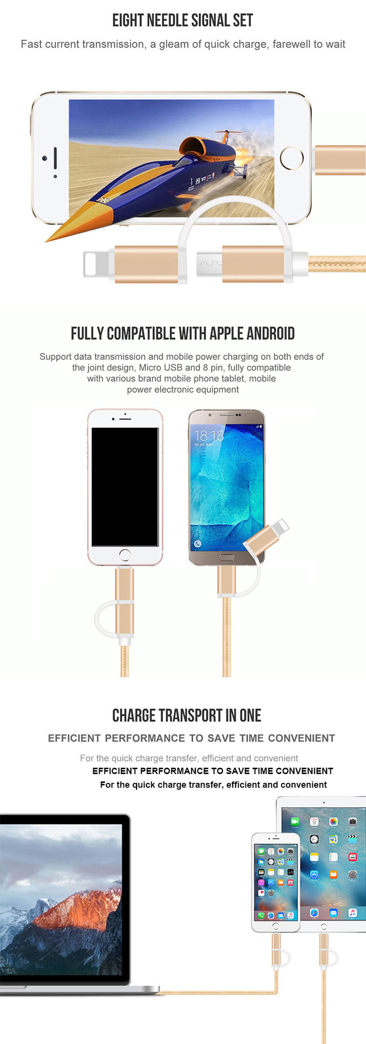 Custom Oem Usb Data Cable Manufacturers For Android For Iphone 2 In 1 Micro Usb Charging Cable
