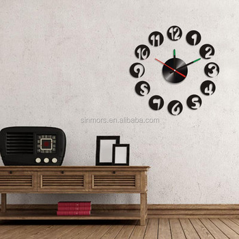 Waterproof Digital Clock Circle Round Wall Decoration Sticker Ceramic Kitchen Pvc Clocks