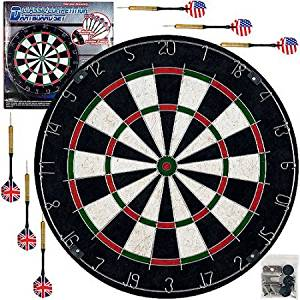 Trademark Games Pro Style Bristle Dart Board Set with 6 Darts and Board