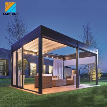 Waterproof Outdoor Aluminum Patio Rain Cover Retractable ... on Patio Cover Ideas For Rain id=78719