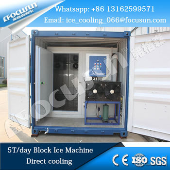 Focusun new launch containerized direct cooling block ice machine nissan 5T