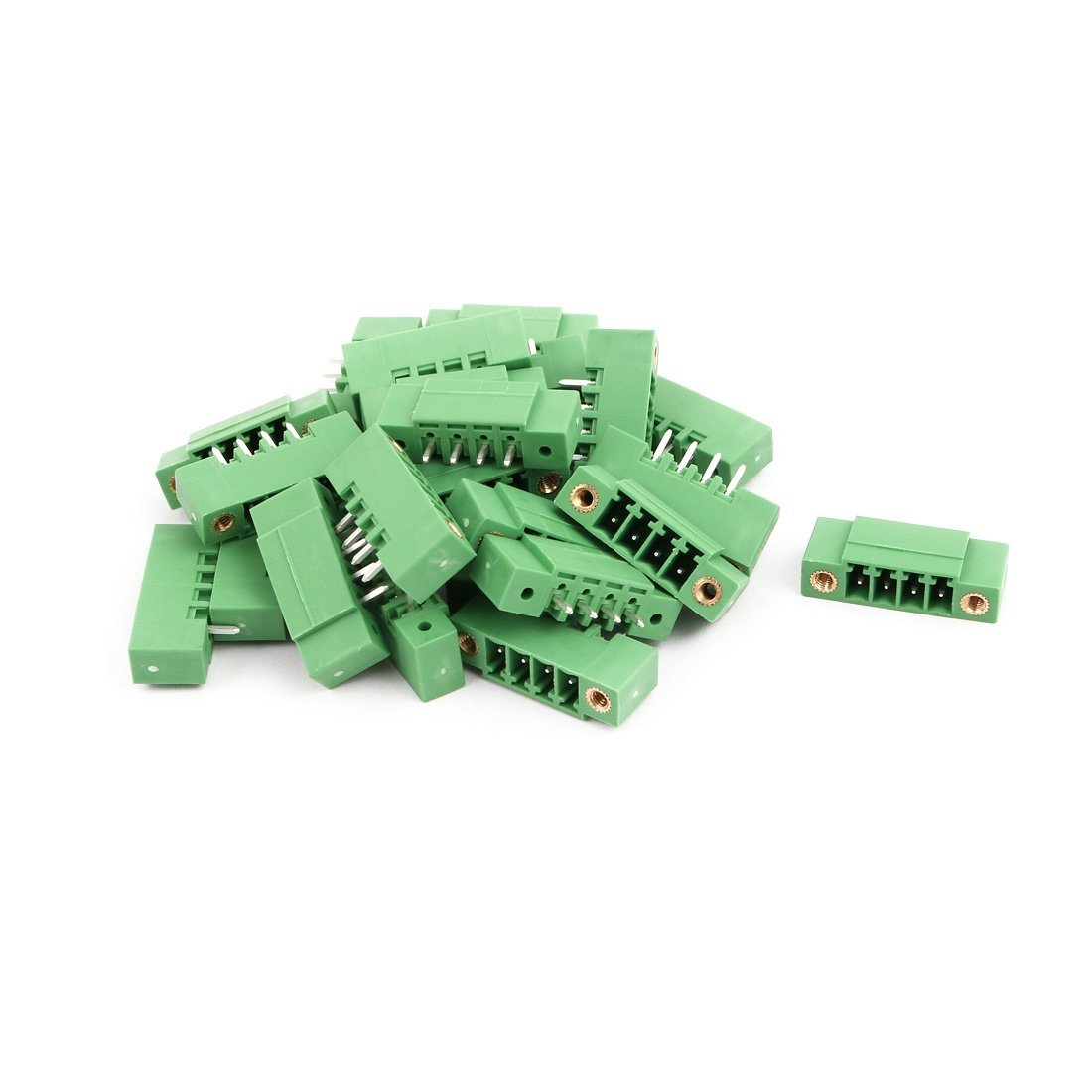 uxcell 25Pcs AC 300V 8A 3.5mm Pitch 4P Terminal Block Wire Connection for PCB Mounting Green