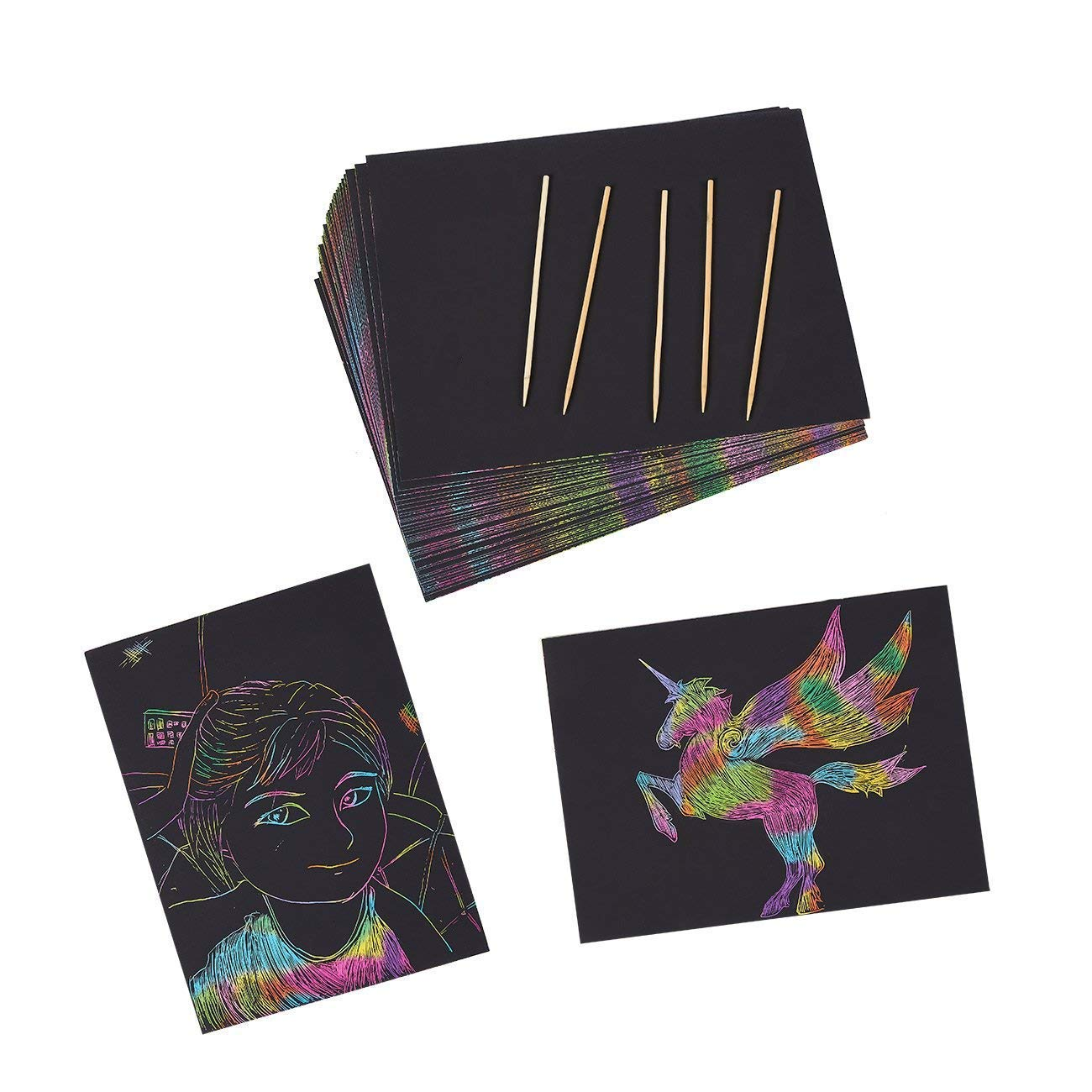 2 Stylus Tools for Kids /& Adults ? 100 Black Paper Sheets ? Create Colorful Rainbow Cards Scratch Art Kit ? Magic Scratch Off Notes /& Pictures /& Other Art Without Ink Notes Bookmarks