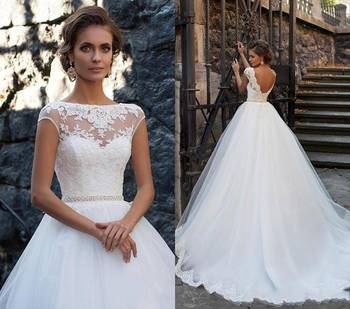 Zh2933g Princess Open Back Wedding Dresses Sheer Neckline Lace Liques Vestios De Novia Bridal Gowns