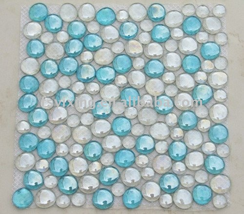 Glass Bead Pebble Glass Mosaic for beach glass tile wall and floor decoration