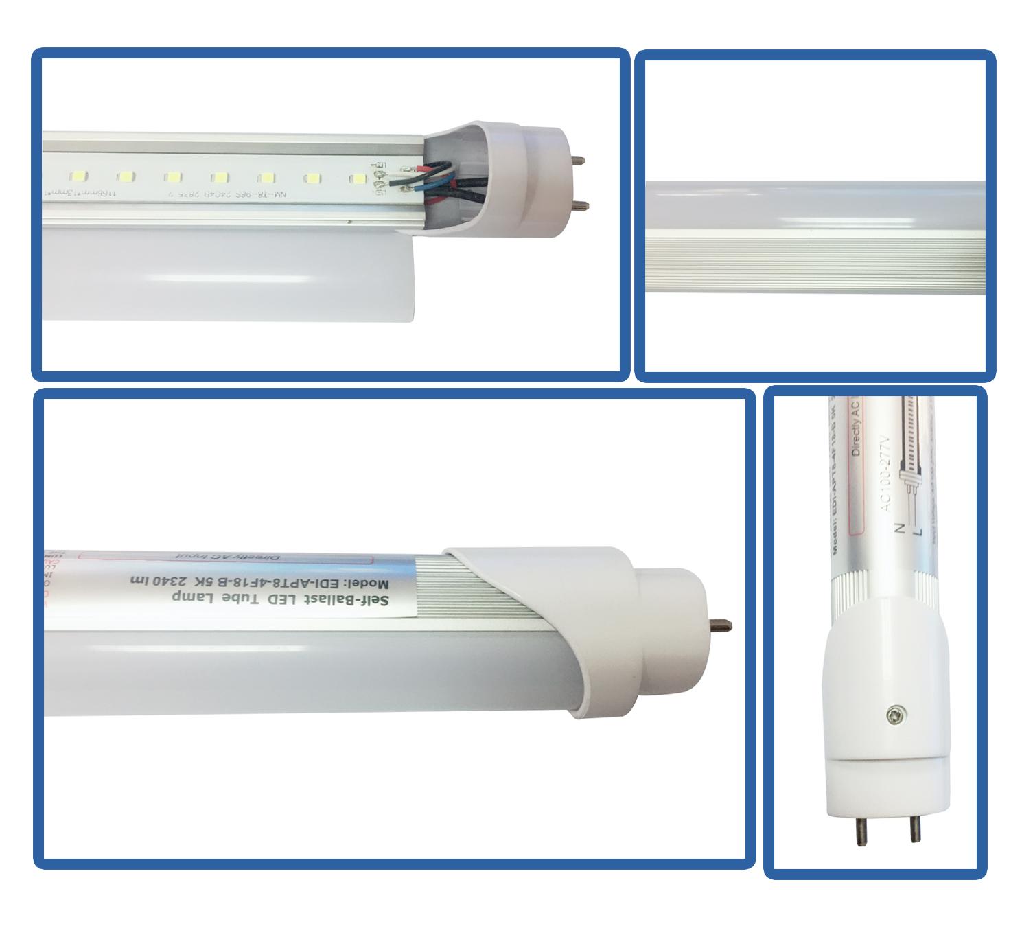 Alto Lumen T8 8ft 24w tipo B 4160lm FA8 único pin 4000K 5000kl 6000k 6500k electrónica lastre compatible tubo led bombilla