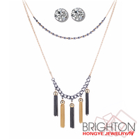 Elegant Zircon Double Chain Tassel Jewelry Sets N3-6255-6300