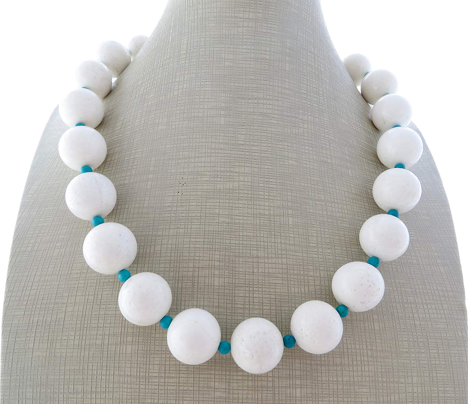 Coral necklace, white and turquoise chunky necklace, choker necklace, big bold necklace, beaded necklace, summer jewelry