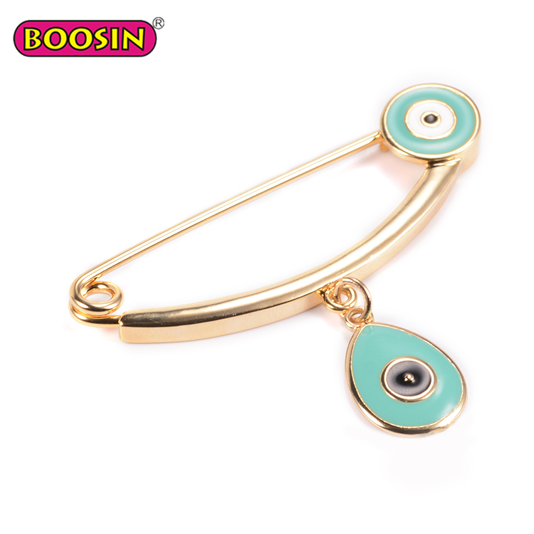 Wholesale evil eye charm Metal safety pin green safety pins