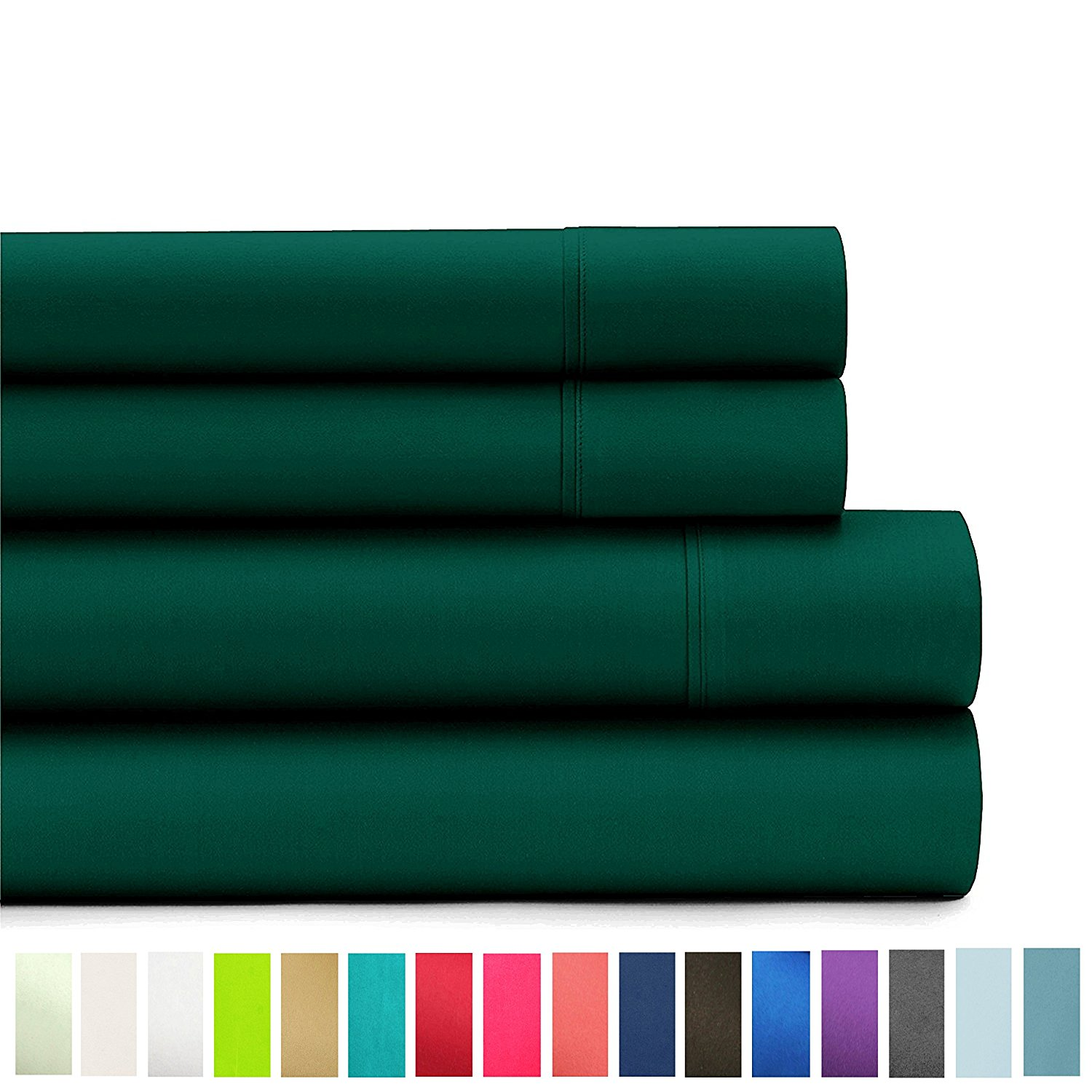 American Home Collection Deluxe 4 Piece Bed Sheet Sets Highest Quality of Brushed Microfiber Wrinkle Resistant Silky Soft Touch (Full, Forest Green)