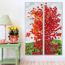 Large Wall Art 2 Panel Red Tree Oil Canvas Painting Abstract Scenery Picture For Living Room Wall Decor Oil Paintings Framed
