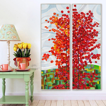 Large wall art 2 panel red tree oil canvas painting abstract scenery picture for living room